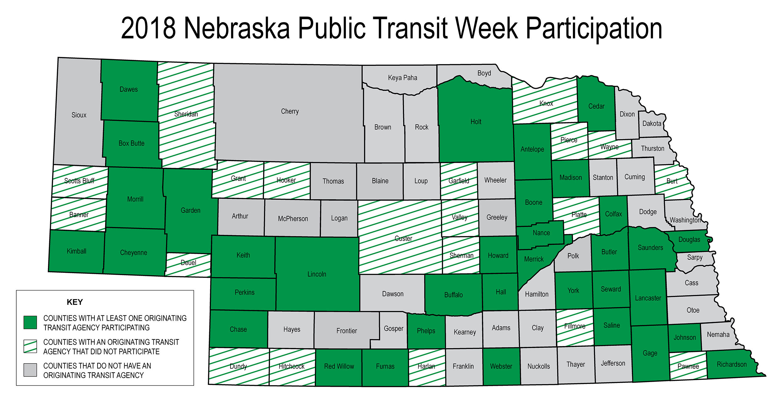 2018 Nebraska Public Transit Week Participation Map